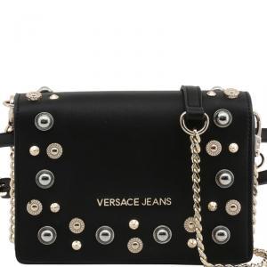 Versace Jeans Black Faux Leather Embellished Crossbody Bag