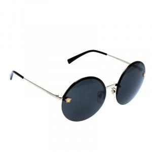 Versace Gold/Black MOD 2176 Medusa Rimless Round Sunglasses