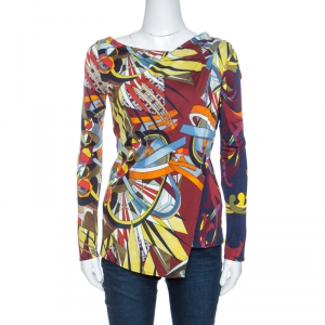 Versace Collection Multicolor Print Jersey Faux Wrap Top S
