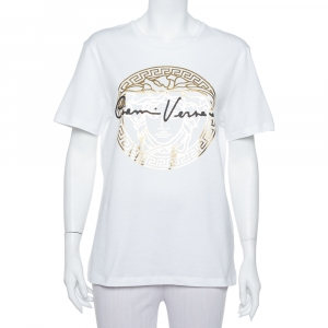 Versace White Medusa Signature Printed Cotton Crewneck T-Shirt M -