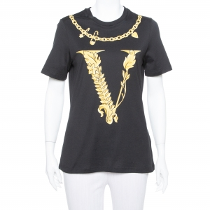 Versace Black Virtus Motif Printed Cotton Crewneck T-Shirt M