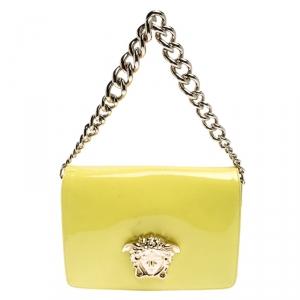 Versace Neon Yellow Patent Leather Medusa Palazzo Shoulder Bag