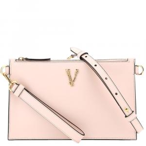 Versace Pink Rose Leather Virtus Clutch