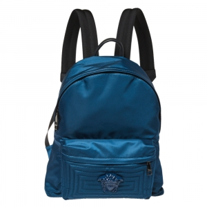 Versace Blue Nylon and Leather Medusa Pallazo Backpack