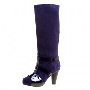 Versace Purple Suede Knee Length Boots Size 41