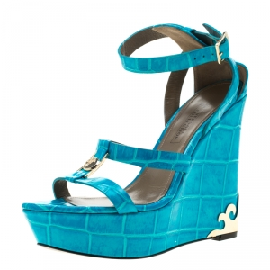 Versace Collection Turquoise Croc Embossed Leather Ankle Strap Wedge Platform Sandals Size 40.5