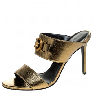 Versace Metallic Gold Leather Icon Medusa Mule Sandals Size 37