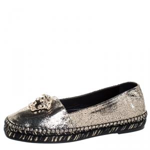 Versace Metallic Gold Medusa Slip On Espadrille Flats Size 37