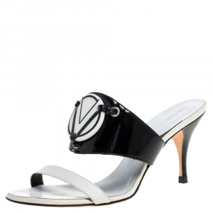 Versace White/Black Patent Leather and Leather Slide Sandals Size 38