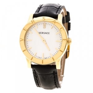 Versace White Mother of Pearl Gold Plated Steel VQA Women's Wristwatch 33 mm