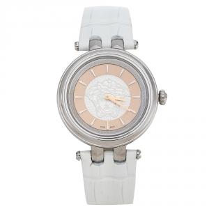 Versace Salmon Stainless Steel Leather Khai VQE010015 Women's Wristwatch 36 mm