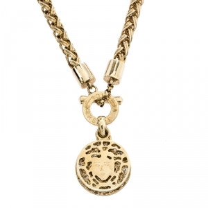 Versace Gold Tone Crystal and Medusa Charm Woven Chain Toggle Necklace