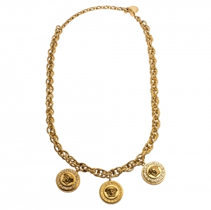 Versace Yellow Gold Tone Crystal Medusa Charm Necklace