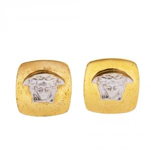 Versace Medusa Two Tone Square Clip-on Stud Earrings