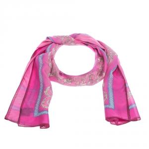Versace Fuchsia Pink Printed Silk Stole