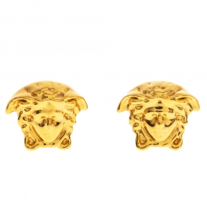 Versace Medusa Gold Tone Stud Earrings