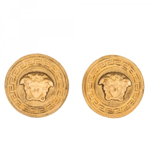 Versace Medusa Gold Tone Round Clip-on Stud Earrings