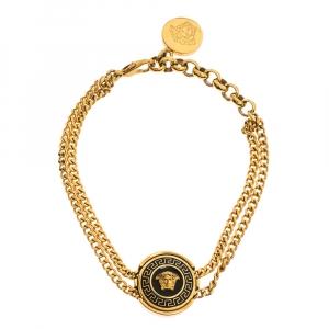 Versace Medusa Enamel Gold Tone Round Charm Chain Bracelet