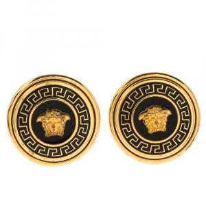 Versace Medusa Black Enamel Gold Tone Round Stud Earrings