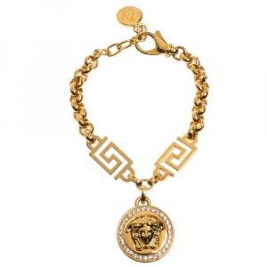 Versace Crystal Medusa Medallion Greca Gold Tone Chain Bracelet