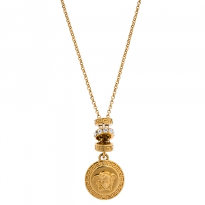 Versace Gold Tone Crystal Tiered Medusa Pendant Adjustable Necklace