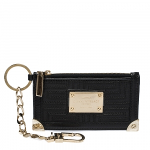 Versace Black Quilted Leather Coin Purse and Key Charm
