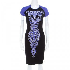 Versace Collection Black and Purple Jacquard Knit Fitted Cap Sleeve Dress M - used
