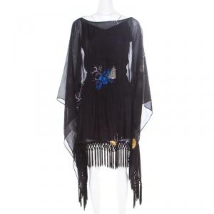Versace Collection Black Shell Printed Silk Tasseled Edge Beach Kimono M - used