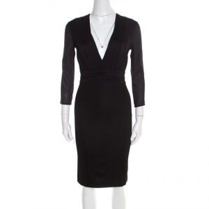 Versace Black Ruched Bodice Long Sleeve Fitted Cocktail Dress S - used