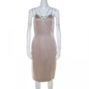 Versace Classic V2 Metallic Ribbed Rhinestone Strap Detail Cocktail Dress S - used