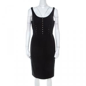 Versace Black Cotton Twill Corset Detail Pencil Dress M - used