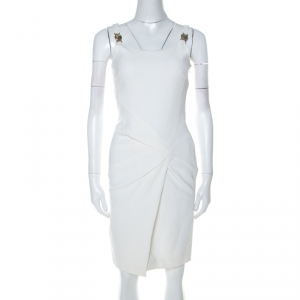 Versace Collection White Stretch Crepe Front Overlap Detail Sleeveless Dress S - used