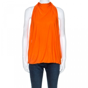 Versace Orange Jersey Draped Halter Neck Top M