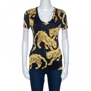 Versace Collection Bicolor Printed Knit V-Neck Top M