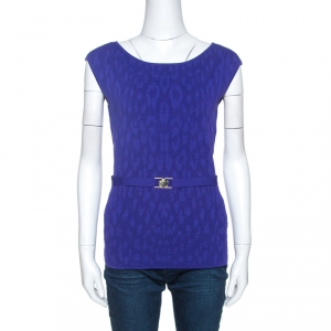 Versace Purple Jacquard Knit Sleeveless Top M