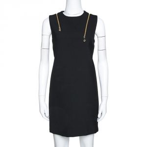Versace Collection Black Knit Shoulder Zip Detail Sleeveless Dress S - used
