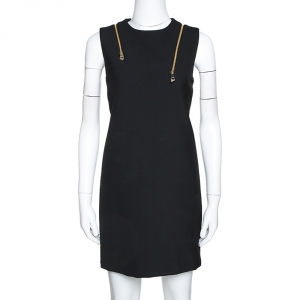 Versace Collection Black Knit Shoulder Zip Detail Sleeveless Dress M - used