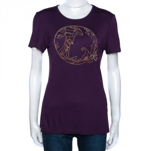 Versace Collection Aubergine Purple Jersey Studded Medusa T-Shirt M - used
