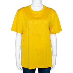 Versace Yellow Cotton Medusa Logo Applique Crew Neck T Shirt XL