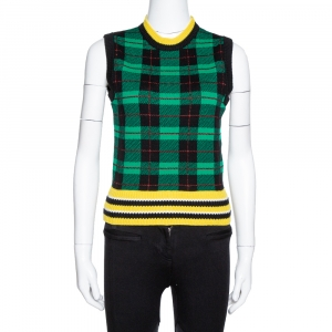 Versace Green Wool Tartan Pattern Sleeveless Sweater Vest S - used