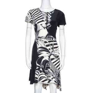 Versace Black Printed Silk Asymmetric Knee Length Dress M - used