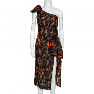 Versace Brown Camouflage Fil Coupé One-Shoulder Dress S - used