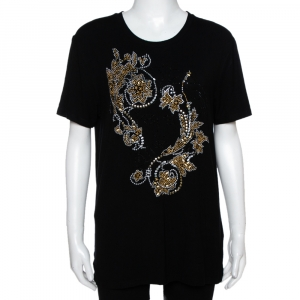 Versace Black & Gold Logo Embellished Jersey T Shirt M - used