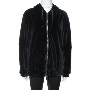 Versace Black Velvet Medusa Embroidered Zip Up Hoodie XL