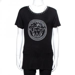 Versace Black Jersey Medusa Icon Studded T-Shirt XL - used