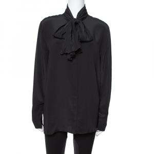 Versace Black Silk Tie Neck Detail Button Front Blouse L