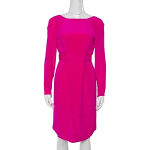 Versace Fuschia Pink Silk Belt Detail Long Sleeve Dress S