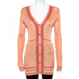 Versace Peach Knit Striped Button Front Cardigan M