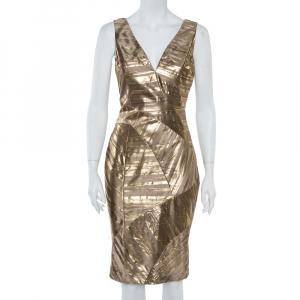 Versace Gold Foil Print Silk Sleeveless Sheath Dress M