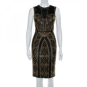 Versace Black Leather Metal Embellished Sheath Dress S - used